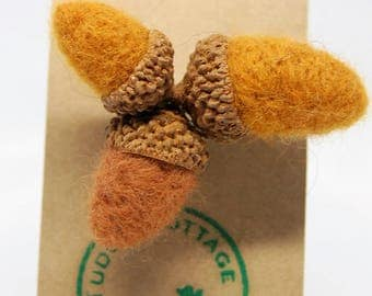 Needle Felted Acorn Brooch