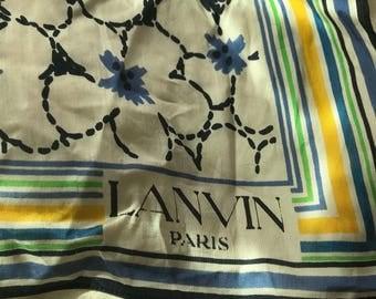 Vintage Lanvin Paris Floral Scarf Cotton Voile
