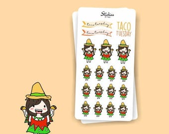 SALE TACO TUESDAY Planner Stickers / Hand drawn, cute, colorful / For your planner, agenda, calendar, scrapbook, laptop | Sd18