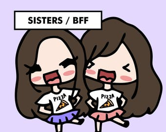 SISTERS BFF Stickers / planner stickers, twins sisters stickers, sisters for life stickers, bff stickers, girls, family, siblings / SD66