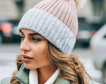 Winter hats for women Wool hat Knitted hat pompon Knitted cowl Wool winter hat Chunky Knit Hat Wool hat Autumn clothes Beanie Fall Apparel