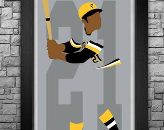 ROBERTO CLEMENTE minimalism style limited edition art print. Choose from 3 sizes!