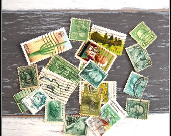 Vintage Cancelled Used Postage Stamps - Green US Stamps - 1920's - 1980's