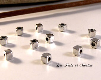 Set of 10 Metal - Silver - 3x3mm - ref:z252 smooth square beads