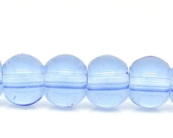Set of 10 light blue 4mm - B27167 round glass beads