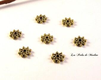 Lot of 4 Rondelle spacer Metal-Gold - 8.7 mm - ref:l45