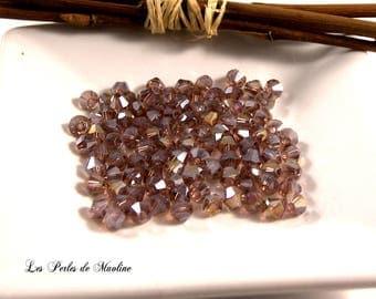 Set of 10 - Violet AB - 4x4mm - ref:c147 Bicone Crystal beads
