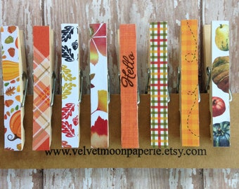 Fall Decorative Clothespin Clips/Pumpkins/Leaves/Autumn Office Memo Clips/Chip and Snack Clips/Fall Decorative Clothes Pins/Set of 8
