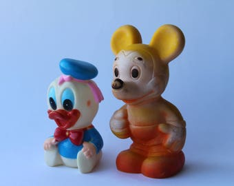 Vintage Rubber Mickey Mouse and Donald duck. Mickey Mouse. Toy. Vintage Toy. Rubber. Donald duck