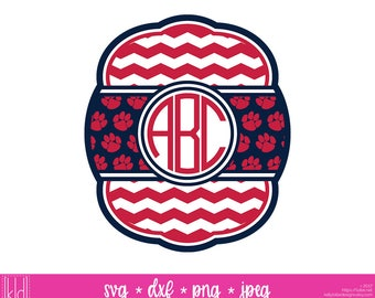 Paw Print Monogram svg - Football Monogram svg - Baseball Monogram svg - Bulldogs svg - Panthers svg - Tigers svg - Cougars svg