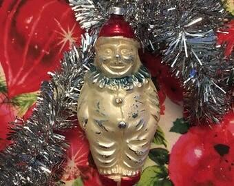 West Germany Mercury Glass Clown Ornament