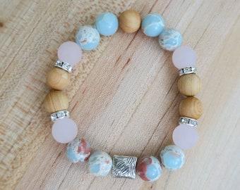 Cotton Candy Diffuser Bracelet   Cloud Bracelet    Rosewood   Aromatherapy   Essential Oil   Boho   Beaded Bracelet   Yoga   Handmade