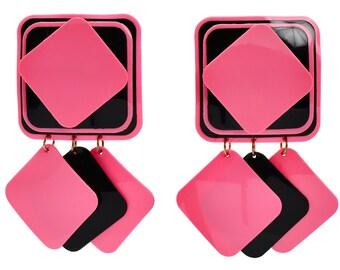 Vintage True Mod 1960's Modernist Fashion Earrings | Colorful Andy Warholesque Pop Art Pink Black Acetate Drop Earrings || 17783