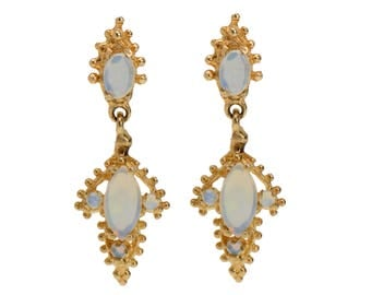 Vintage Opal Earrings Gold | Estate White Opal Dangle 14K Yellow Gold Earrings 1960s | Vintage Estate Earrings Opal  || 18406
