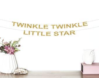 Twinkle Twinkle Little Star Glitter Banner   Star Banner   Birthday Banner   Baby Shower Banner   Star Party Decorations   Star Garland