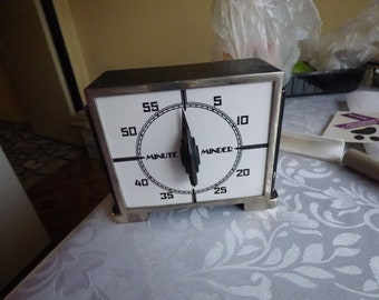 Old Minute Minder Timer by  Metal Minute Minder, Rustic Stove Timer,extra strong metal body ,can stand on wall great home decor full work