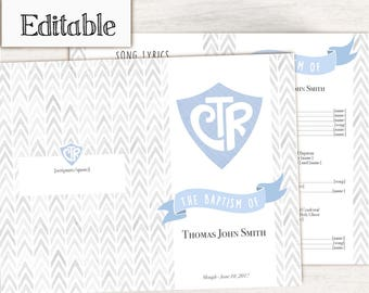 Baptism Program LDS Printable Digital, Editable PDF, Songs Handout Boy Baptism, CTR, Grey Blue Watercolor, Baptism Template