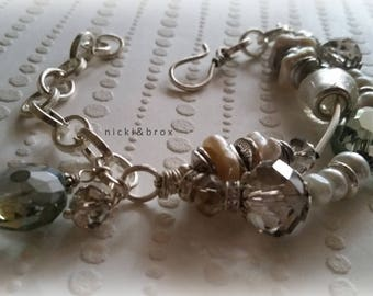 Crystal and Freshwater Pearl Beaded Bracelet