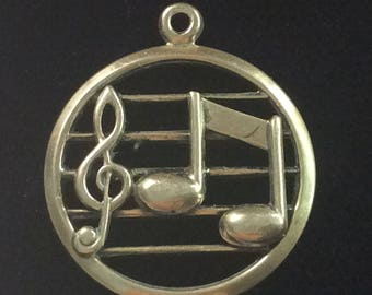 Sterling silver music treble cleft charm vintage # 164s