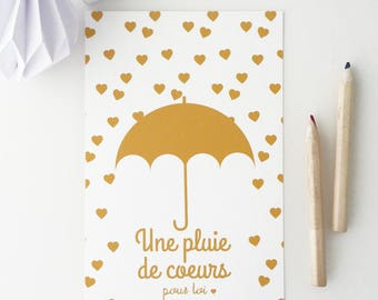 Illustrated postcard of an umbrella and hearts