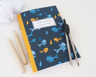 Illustrated notebook A6 small fish in yellow and blue