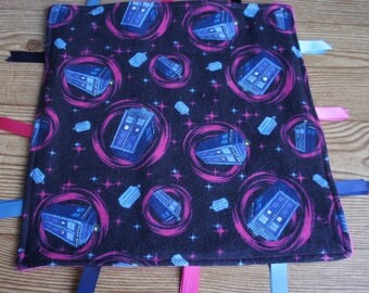 Baby Ribbon Tag Blanket Dr. Who Tardis Minky Baby Blanket Ribbon Pink Minky Baby Girl Nursery New Baby Shower Gift