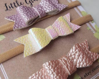 Faux leather baby headbands: textured bows, baby bows, one size fits all headband, baby accessories, toddler accessories, bow set