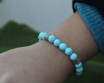8mm Blue Turquoise Round Beaded Bracelet