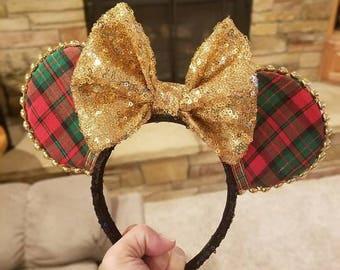 Plaid Christmas ears, Plaid Minnie Ears, Plaid Mickey Ears, Christmas Ears