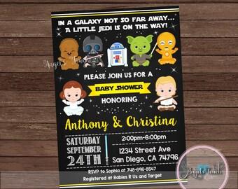 Baby Shower Invitation, Star Wars Baby Shower Party Invitation, Star Wars Baby Shower Invitation, Baby Shower Space Wars, Digital File