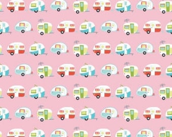 Riley Blake Glamper Camper Cotton Quilting Fabric  Pink