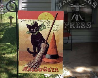 Garden Flag, Victorian Halloween Card, Black Cat