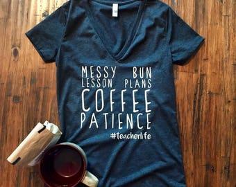 Messy Bun Lesson Plan shirt, Teacher life shirt, Funny teacher shirt, Teacher tshirt