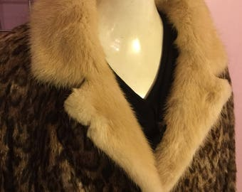 Winter SALE ! printed rabbit fur with mink collar NOW 215. !