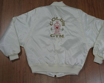 Vintage Golds Gym White Bomber Jacket Mens Medium 90s Workout USA