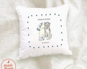 Cat Wedding Cushion Gift for Bride and Groom Personalised Bridal Present Pillow Case Cushions Uk White Blue Wedding Cadeau de Mariage Gato