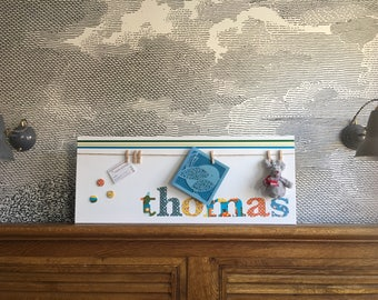 "Personalised decorative peg board for photos and keepsakes - with button motif - 12"" x 30"" - thomas"