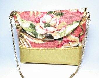 Rose flower purse - Floral purse - summer purse - gift for her - flower purse - flower shoulder bag - fabric handbags - purses and handbags