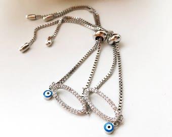 Silver evil eye bracelet, oval bracelet, stainless bracelet, blue evil eye bead, silver bracelet, evil eye charm, elegant jewelry, evil eye