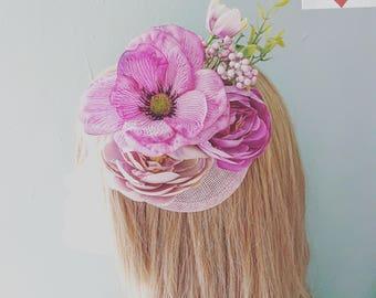 Dusky Pink Purple & Mauv Floral PillBox Hat Hair Facinator Clip