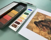Limited Edition Watercolor Handmade Paint whole pans  watercolor paint set in vintage Pencil Tin  FREE Shipping in U.S