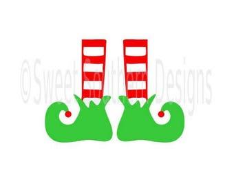 Elf feet Christmas monogram SVG instant download design for cricut or silhouette
