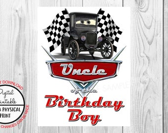 Cars Birthday Iron On Shirt Transfer - Lizzie tshirt or clip art printable - Instant Download - Uncle of the Birthday Boy
