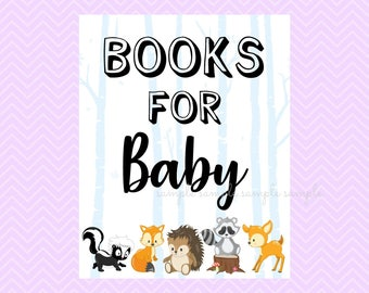 Books for Baby Sign, Books for Baby Table Sign, Printable, Baby Shower Party, Woodland Design style