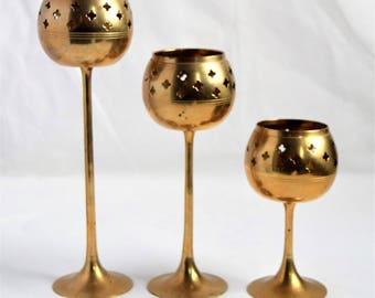 Vintage  set of 3  candle holders/ vintage Candle Holders