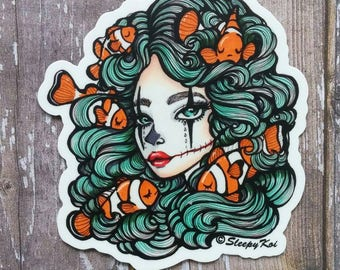 Clown Fish - 3 Inch Die Cut Weatherproof Vinyl Sticker /Decal from Drawlloween /Inktober 2017 for Planners Notebooks Laptops bullet journals