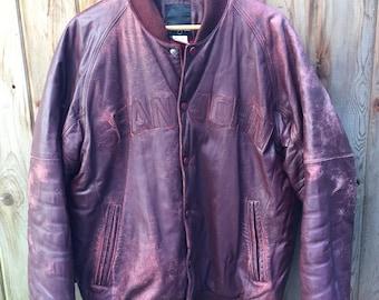90s Sean John Brown Leather jacket - XL