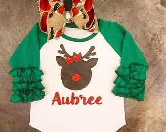 Little Girls Ruffle Raglan Christmas t-shirt. Toddler and Baby Rudolph shirt with glitter nose and bow.