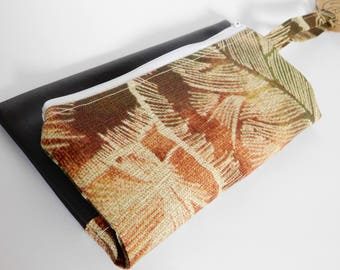 Travel Pouch // Clutch // Cosmetic bag // Brown Leaf Print // True Leaf Collection