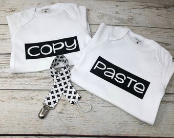 Twin body suits, copy and paste twins, twin shirts, twin baby shirts, twin baby, twin outfit